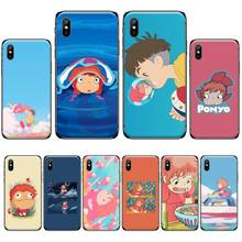 Cartoon Ponyo on the Cliff Soft black Phone Case For iphone 4 4s 5 5s 5c se 6 6s 7 8 plus x xs xr 11 pro max nand pro box ip nand pro for iphone 4 4s 5 5c 5s 6 6p supported for ipad 2 3 4 5 6 supported