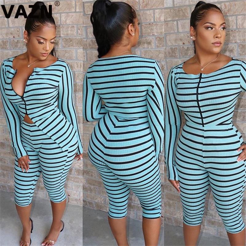 VAZN ML7243 New Summen Striped Sexy Beach Through Fashion Full Sleeve Knee Pants Bandage Women Sexy High 2 Piece Women Set