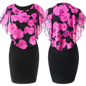 Plus Size Womens Dress Elegant Office Lady Rose Flower Print Cape Bodycon Knee Length Dress 4