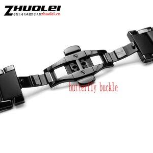 Image 3 - Voor AR1452 AR1451 Keramische horlogeband en case 22mm 24mm Hoge Kwaliteit Zwarte mannen Keramische Band Armband staal zwart deployment band armband