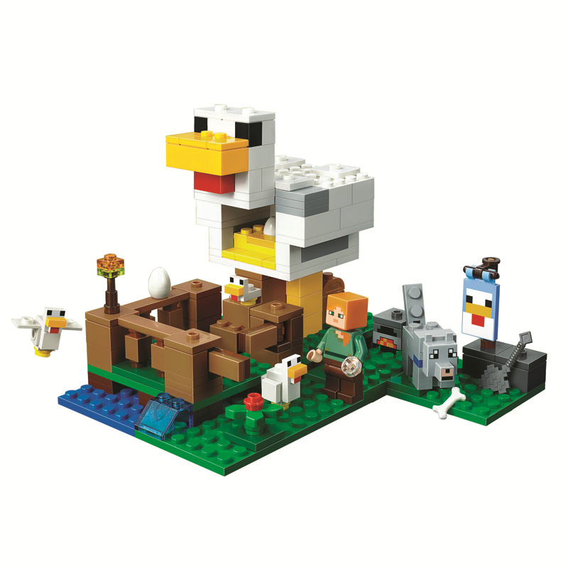 The Chicken Coop Building Blocks With Alex Action Figures Compatible Lepining MinecraftINGlys Sets Toys For Children 21140