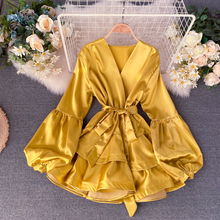 HISUMA spring autumn New Women's Deep V neck lantern sleeve two layers ruffles satin dress