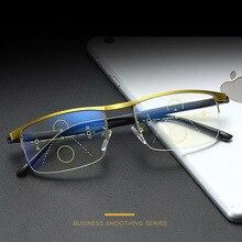 Ilerici multifokal okuma gözlüğü Anti mavi ışık görünüm uzak görünüm orta görünüm yakın İşlevli kaş Retro Retro