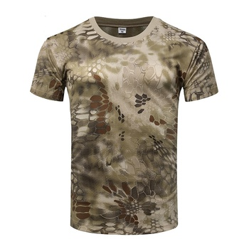 Camouflage Tactical Shirt Short Sleeve Men's Quick Dry Combat T-Shirt Military Army T Shirt Camo Outdoor Hiking Hunting Shirts 2