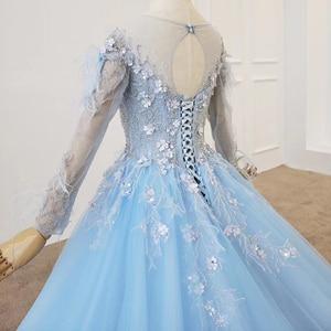 Image 5 - HTL1203 graduation blue dress o neck long sleeve Feather on Shoulder and waist light tulle skirt evening dress платье выпускное