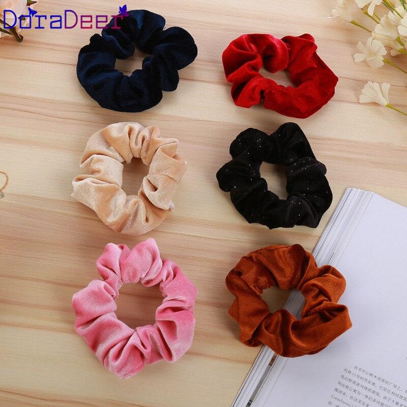 DoraDeer резинки для волос для девушек, простые одноцветные резинки для волос, черные банданы для девушек, держатель для конского хвоста