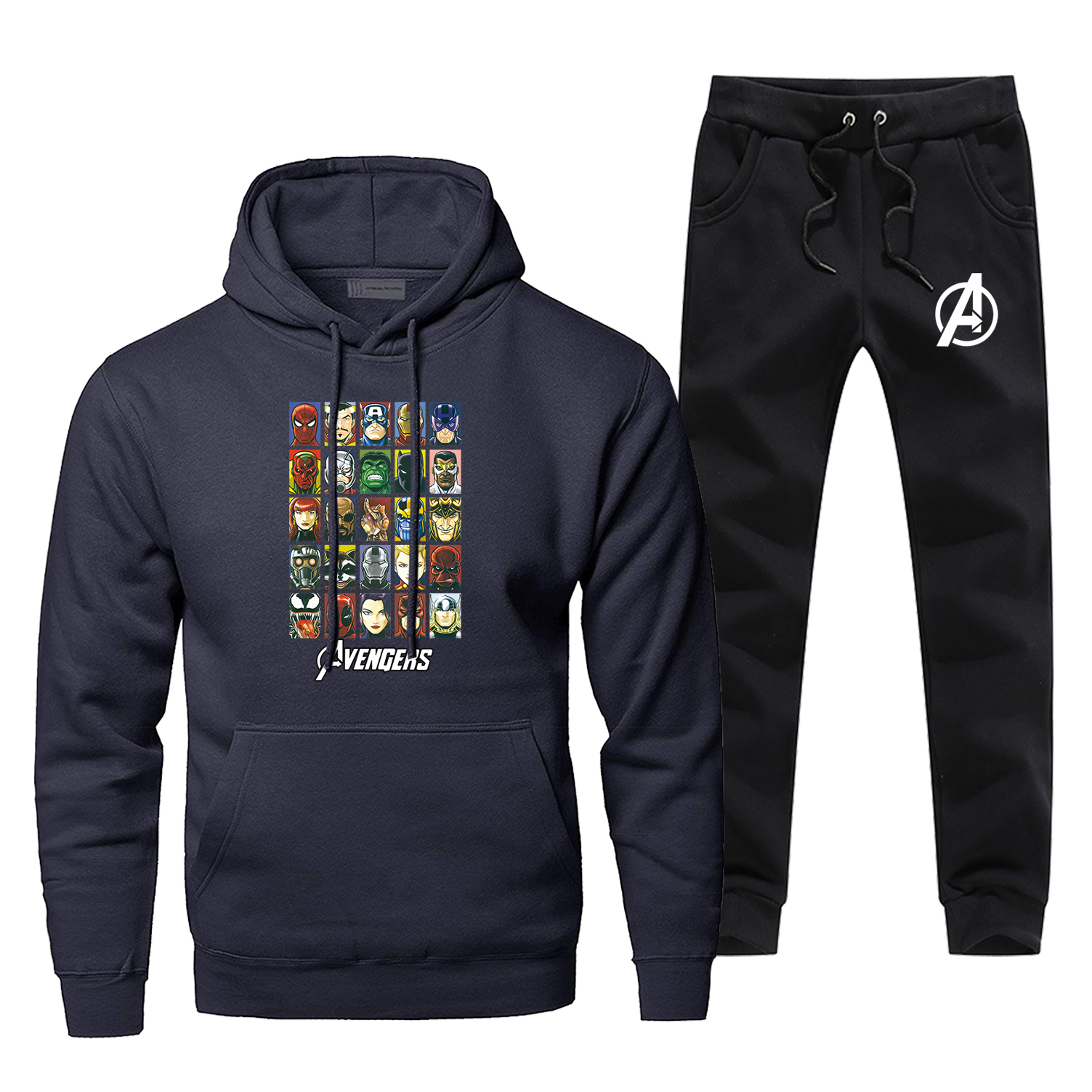 Fashion Marvel Sweatshirt Men Marvel Avengers Endgame Print Hoodies+pants 2piece Sets Harajuku Sportswear Hip Hop Streetwear
