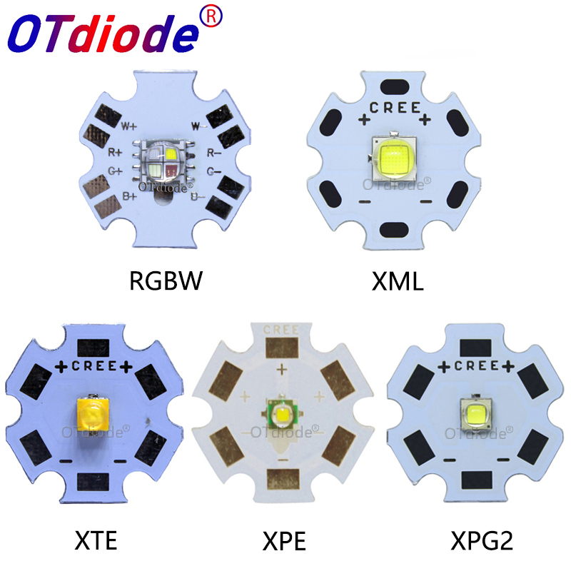 10PCS 3W 5W 10W CREE XML XPE XPG XTE LED Warm Whtie, WHITE RGB High Power LED Chip On 20mm PCB