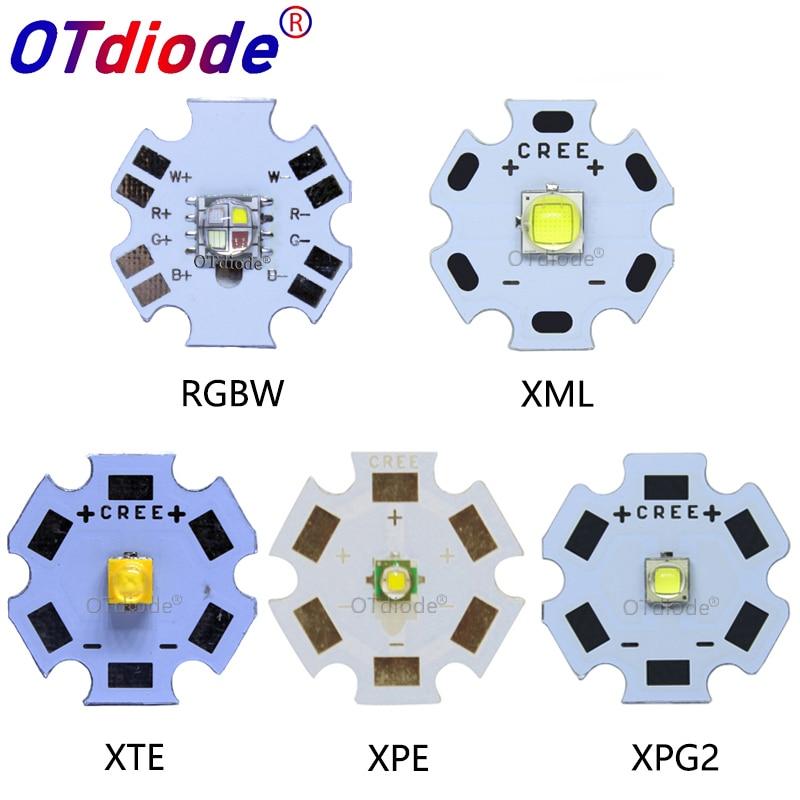 10PCS 3W 5W 10W CREE XML XPE XPG XTE LED Warm Whtie, WHITE RGB High Power LED Chip On 20mm PCB