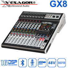Mezclador de Audio para DJ GX8 8ch, mezclador USB, Reverb16DSP 48VMP3, interfaz Digital Bluetooth para PC, grabación de tarjeta de sonido para DJ, consola mezcladora