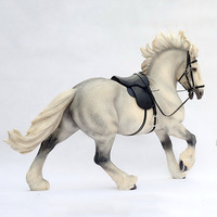 About 53CM Simulation PVC Shama War Horse Sitting Riding Animal Model Mount Adult Collection Gift Indoor Display