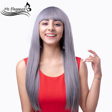 MS FLEGANCE Long Grey Straight Wig Synthetic With Bangs for Women Natural Middle Cosplay Wig Heat Resistant Red Black Daily Wigs(China)