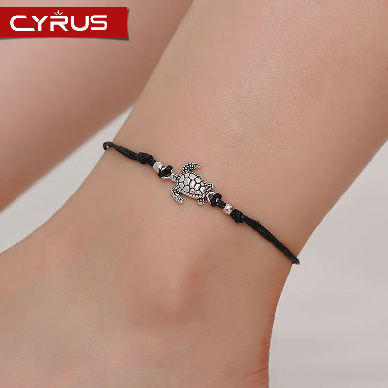 Simple Pure Handmade Sea Turtle Ankle Bracelets For Women Multiple Color Braided Rope Anklet Single Layer Beach Barefoot Jewelry