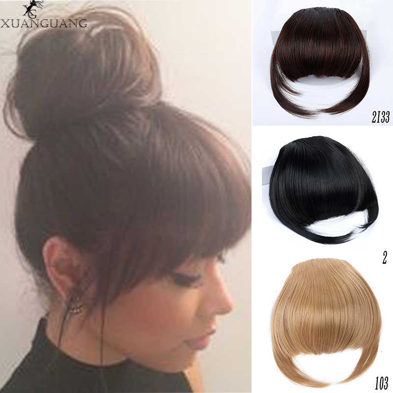 XUANGUANG Natural Black Brown Neat Front Clip In Hair Bangs Extension  Clip On Synt hetic Hair False bangs