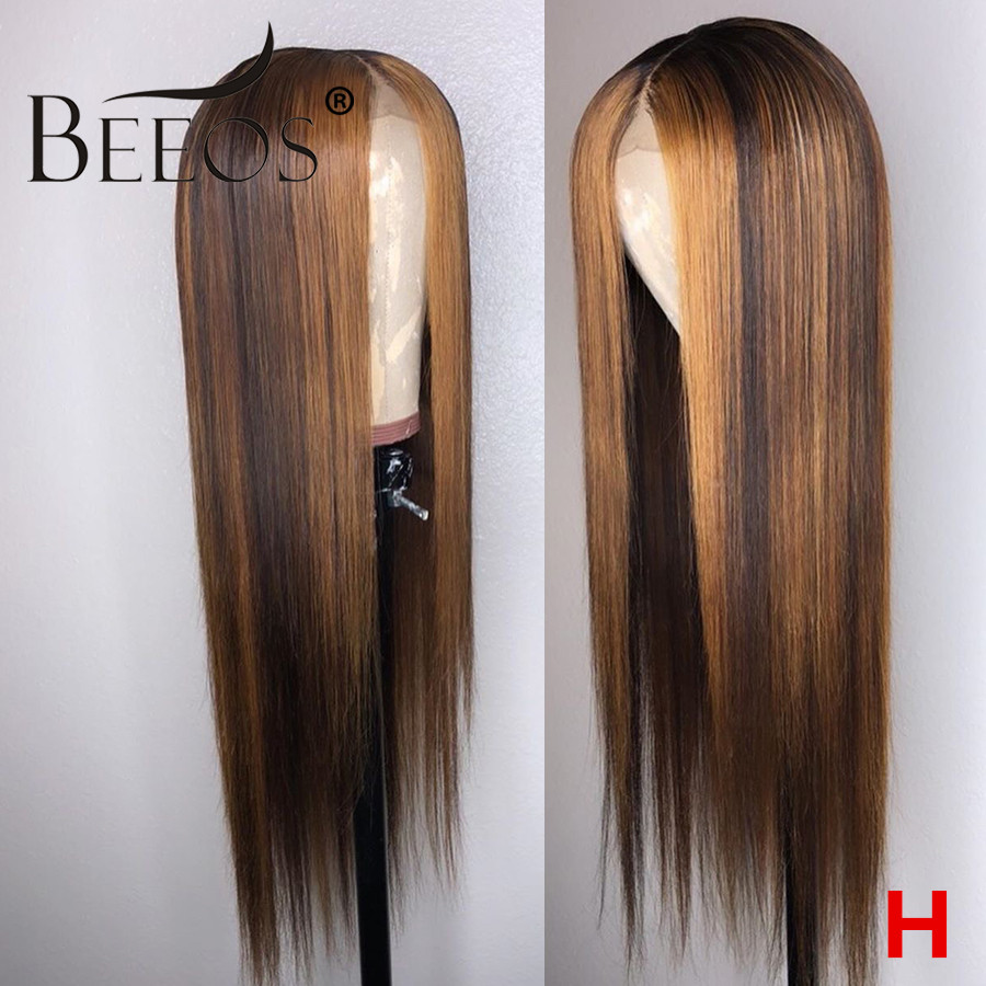 Beeos 13x6 180% Lace Front Human Hair Wig Straight Highlight Honey Blonde Brown 1b30 Pre Plucked Brazilian Remy Lace Wigs