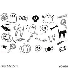 ZhuoAng Halloween Lovely Ghost Cat Clear Stamps For DIY Scrapbooking/Card Making/Album Decorative Silicone Stamp Crafts
