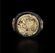 Hot sprzedaży męska czarny dwa-kolorowe pierścienie domineer kreatywny Eagle jasnoczarny split biżuteria ręczna