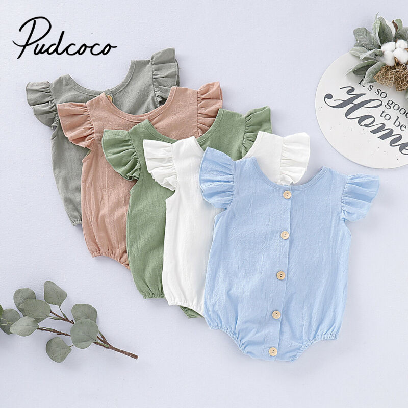 Pudcoco Summer Infants Baby Girls Boys Clothing Bodysuits Pure Color Ruffles Fly Short Sleeve Jumpsuit Clothes Tops Playsuits