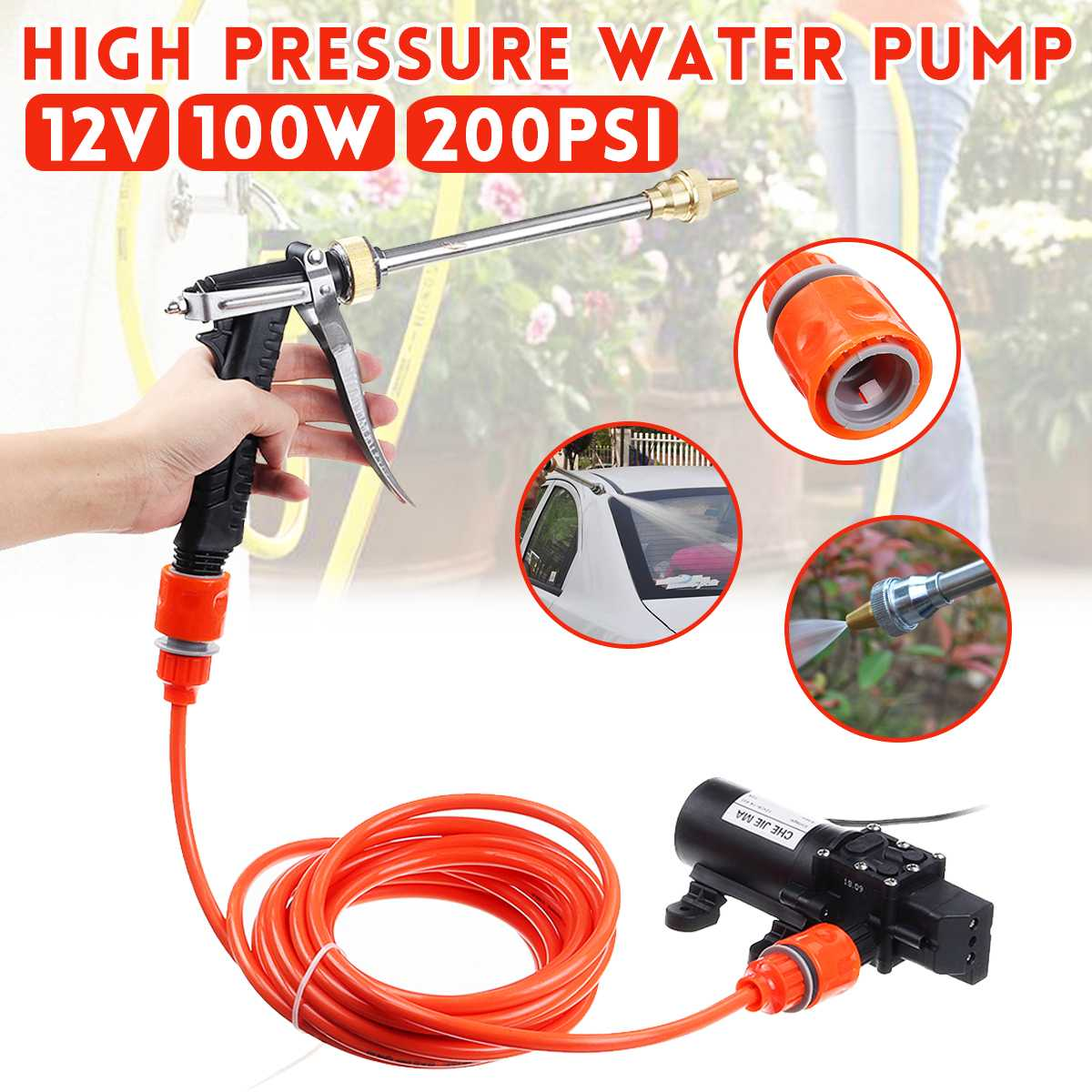 Household Car Wash Pump 100w Portable High Pressure Electric Car Wash Washer 200PSI 12V Car Washer Washing Machine