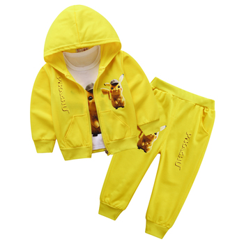 2019 Boys Girls Clothing Sets Kids Autumn Pikachu Sets Hooded Coat Suits Fall Cotton Baby Boys Girls Coat+Pant 3Pcs Clothes set