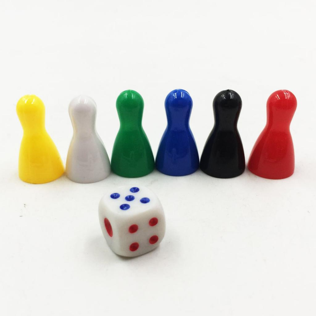 12Pc Colorful Pieces Pawn Chess Plastic Pieces Dice Set For Board Card Games