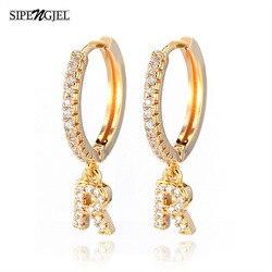 1 Pair Fashion Cubic zircon Initial A-z Letter Earrings DIY Alphabet Drop Small Hoop Earings For Women alphabet Jewelry 2020