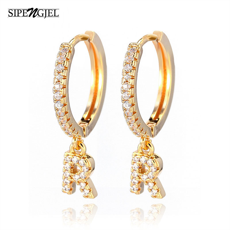 1 Pair Fashion Cute Initial A-z Letter Earrings Mirco Crystal Gold Small Hoop Earings For Women alphabet Fashion Jewellery 2020