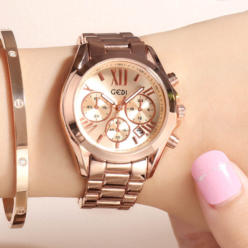 Luxury Rose Gold Women Casual Watch Waterproof Calendar Unique Quartz Business Dress Watches for Female Golden Lady Clock 1