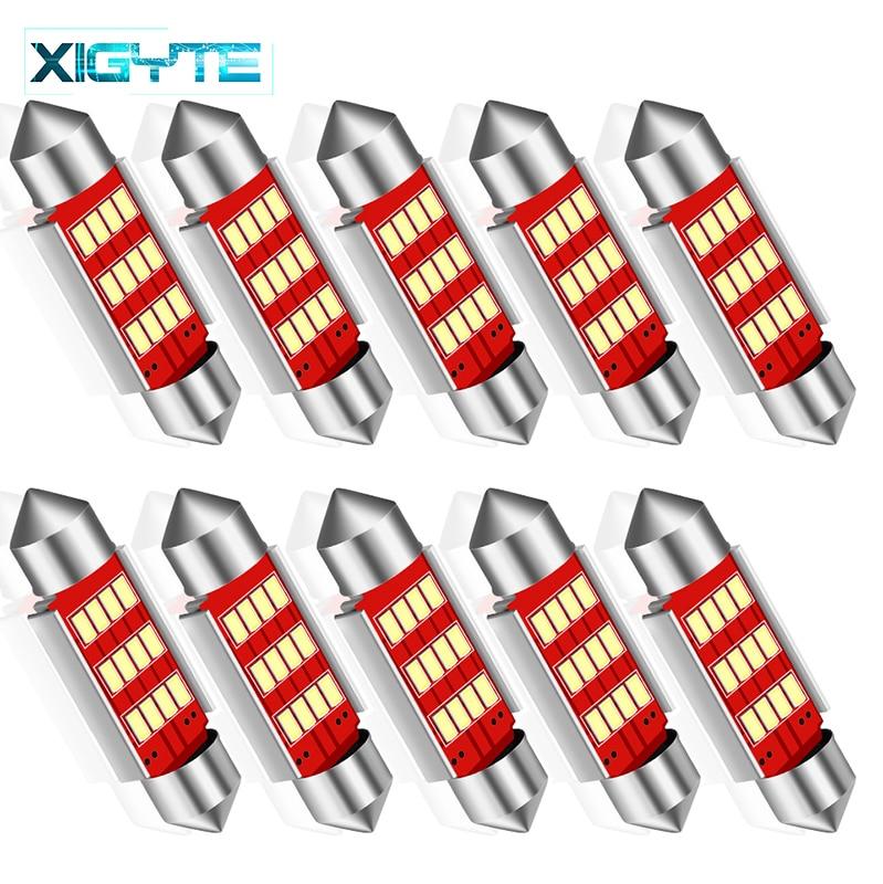 10pcs No Error Festoon 36mm LED Bulb C5W 4014 SMD Lamp Car License Plate Lights For Volkswagen Golf 3 4 5 6 Passat B6 B5 3c Polo
