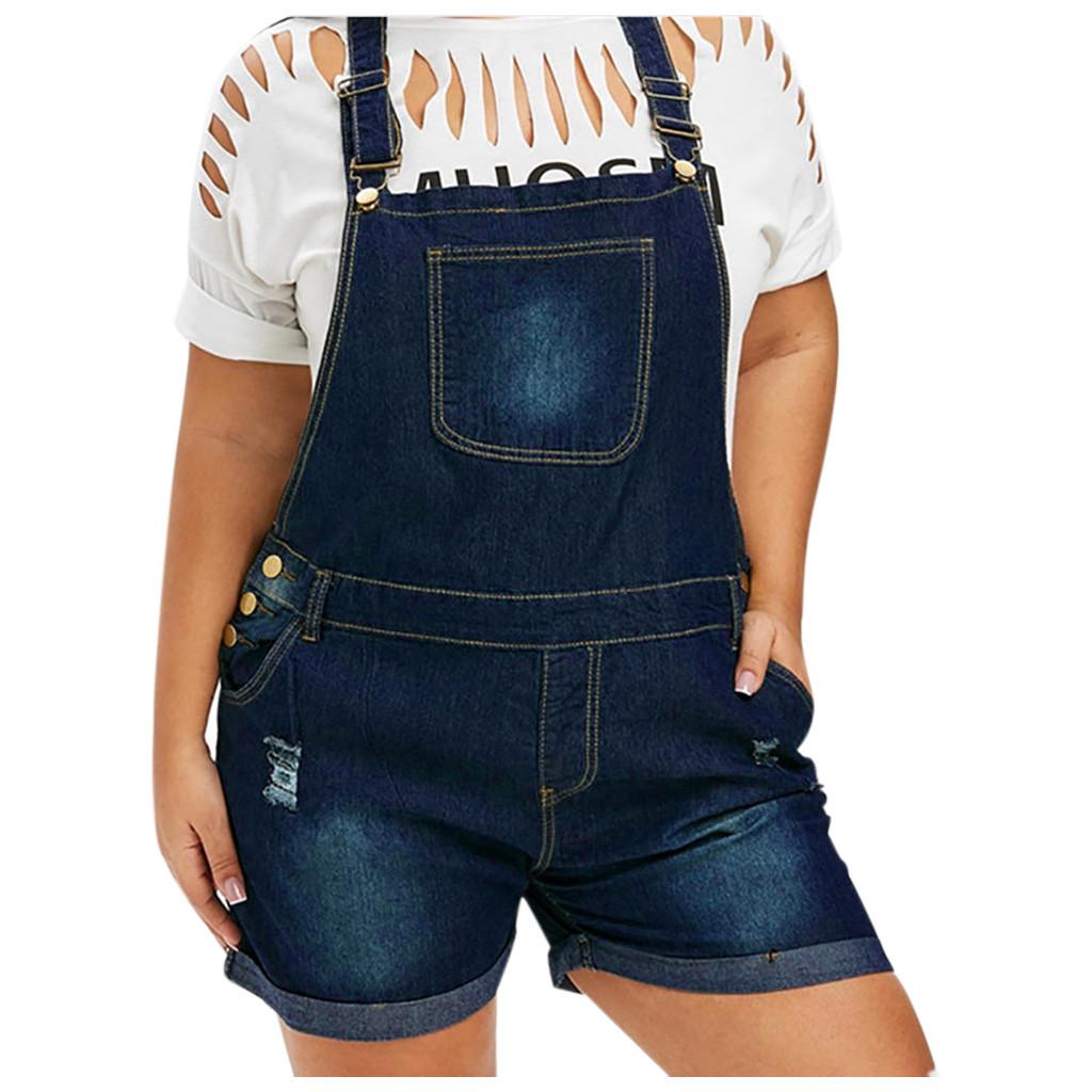Denim Jeans Shorts Jumpsuits Rompers Playsuit Women's Mid Waist Strap Hole Breaking Plus Size Denim Jumpsuit S 5XL plus size