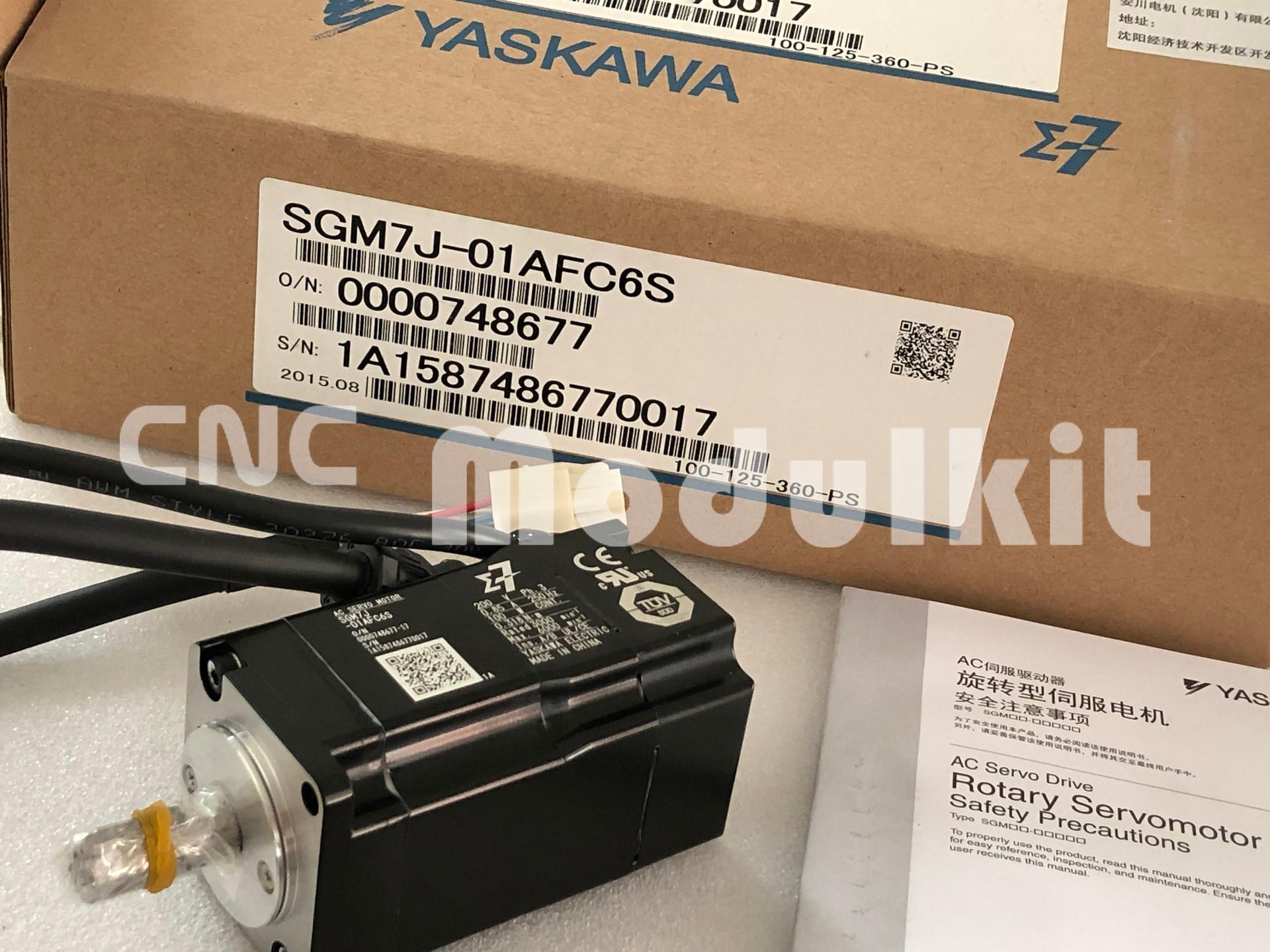 Yaskawa original novo sigma7 SGM7J-01AFC6S & SGD7S-R90A00A ac servo sistema de controle kit 100 w rotativa ac driver motor cnc modulkit