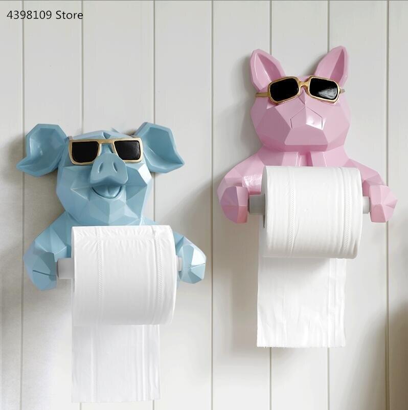 Animal statue rouleau titulaire salon bureau mural porte-serviettes en papier chien/chat tenture murale salle de bain toilette rouleau titulaire