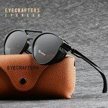 Lunettes de soleil style gothique polarisées, style rétro pour hommes et femmes, style rond Steampunk, lunettes de soleil