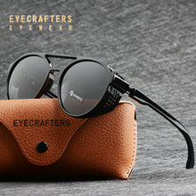 Moda moda polarize gotik güneş gözlüğü gözlük tasarım Shades Retro Mens Womens yuvarlak Steampunk güneş gözlüğü gözlük gözlük