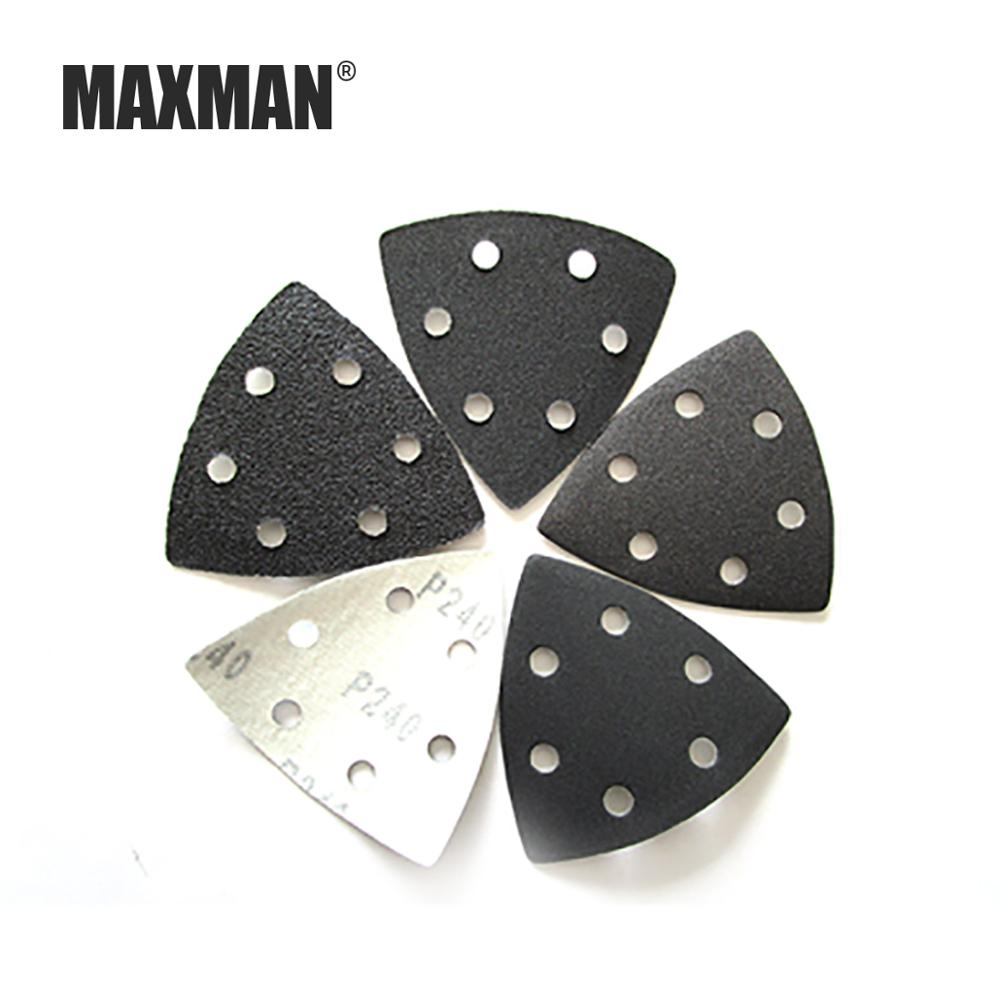 MAXMAN Triangle Black Sandpaper Flocking Brushed Self-adhesive Triangle Sand Plate 6 Hole Universal Treasure Accessories 90MM