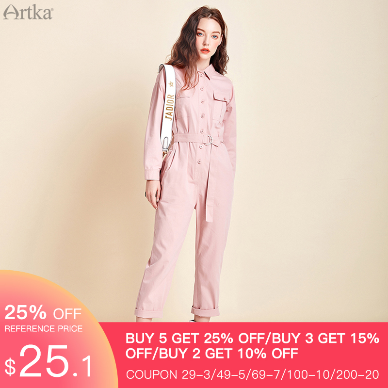 ARTKA 2020 Spring New Women Jumpsuit 100% Cotton Fashion High Waist Button Jumpsuit With Belt Female Casual Overalls KA25005C