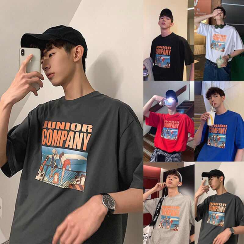 Couples loose cartoon print <font><b>Hong</b></font> <font><b>Kong</b></font> style Vintage <font><b>tshirt</b></font> Korean Preppy Style Fashion clothes Multicolor hot top streetwear image