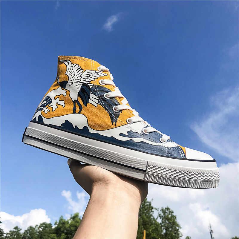 ระเบิดรุ่น ukiyoe สูงรองเท้าผ้าใบรองเท้ารองเท้าผ้าใบผู้ชายผู้หญิงรองเท้าผ้าใบรองเท้าผ้าใบสีเหลือง