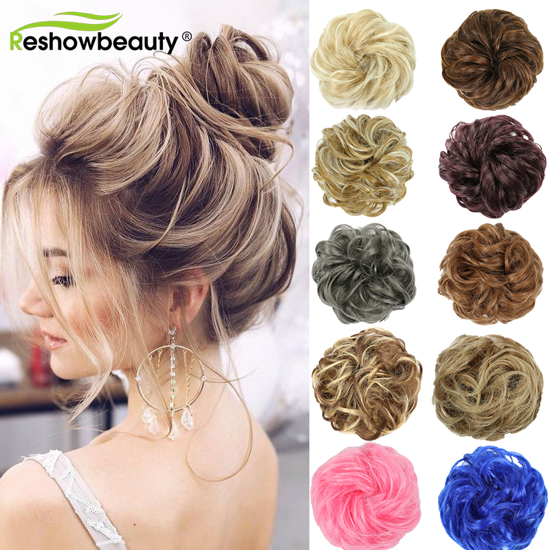 Hair Bun Messy Scrunchy Hairpieces Women Chignon Synthetic Hair Extensions For Women Fake Hair With Elastic Band Reshowbeauty