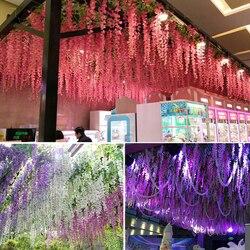 12PCS / SET 3.6 Feet Artificial Flower Silk Wisteria Vine Wedding Garden Flower DIY Living Room Office Decoration