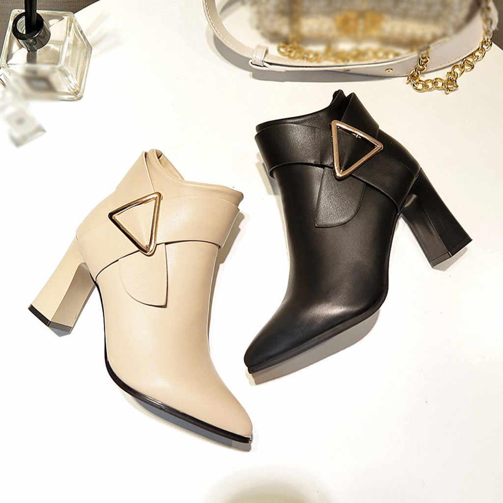 Tam giác Khóa Dây Giày Bốt Nữ Da Gợi Cảm Màu Vuông Cao Gót Mũi Nhọn Dây Kéo Giày Người Phụ Nữ chaussures Femme