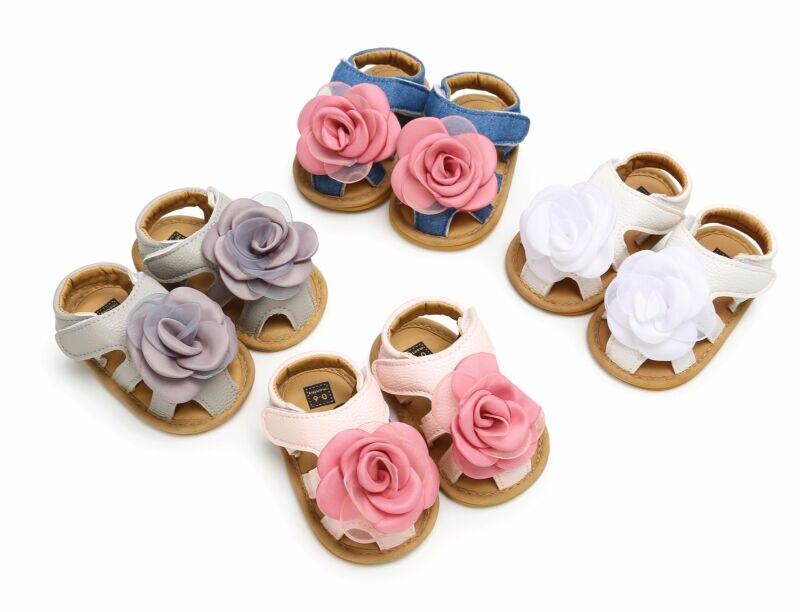Children Summer Clogs Princess Infant Newborn Baby Kid Girls Soft Sole Crib Toddler 3D Big Flower Rose Sandals Shoes 0-18M