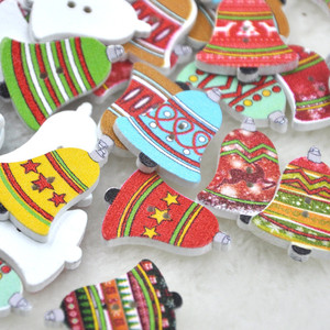 50 шт. рождественские деревянные кнопки колокольчика декоративные кнопки 2 отверстия Швейные аксессуары 20-25 мм принадлежности для скрапбуки...
