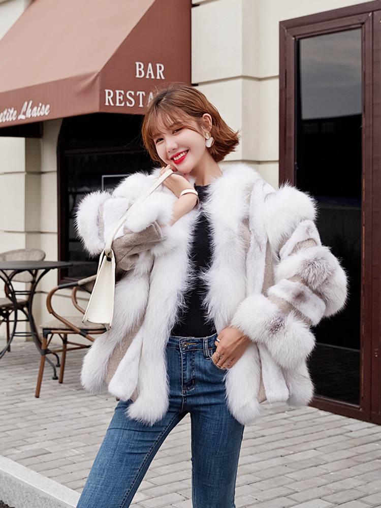 OFTBUY 2019 Real Fur Coat Natural Fox Mink Fur Plice Striped Winter Jacket Women Thick Warm Outerwear Streetwear Loose Luxury