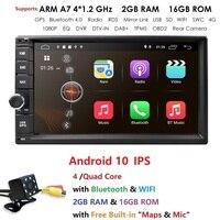 Ossuret 7Universal Quad Core 2Din Car Android 10 Radio Multimedia Player 4G WIFI 2GRAM 16GROM GPS Navigation MirrorLink Cam BT