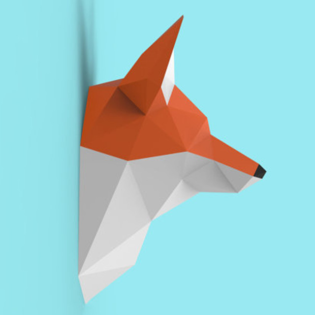 Fox Wall Hanging 3D Paper Model DIY Manual Paper Die Hanging Toy Geometric Origami Three-dimensional Composition Free Shipping 2