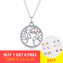 XiaoJing Popular 925 Sterling Silver Tree of Life and Dog Pendant Necklaces Women DIY Fashion Jewelry Gift free shipping