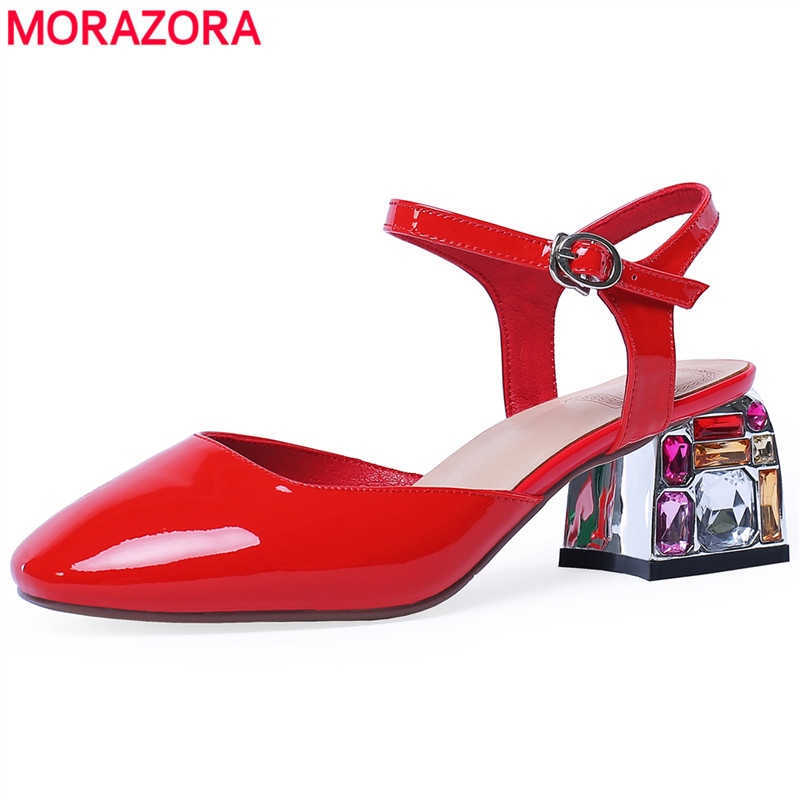 MORAZORA SIZE 34-43 Patent Genuine Leather Sandals Women Buckle Strap Square High Heels Rhinestone Red Greed Black Wedding Shoes
