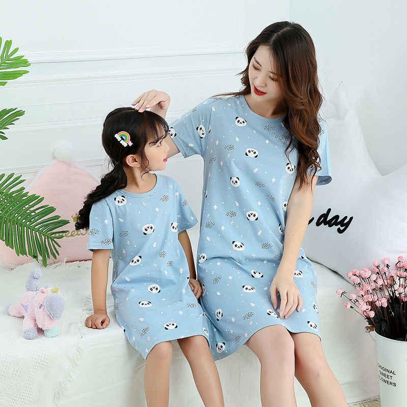 Zomer Meisjes Nachtjapon Pyjama Kids Korte Mouwen Nachthemd Leuke 100% Katoen Kind Baby Slapen Jurk Maat 8 10 12 14 jaar