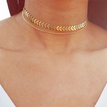 Multi Arrow Choker Necklace Women Two Layers Necklaces Collares Fishbone Airplane Flat Chain Chocker On Neck Jewelry